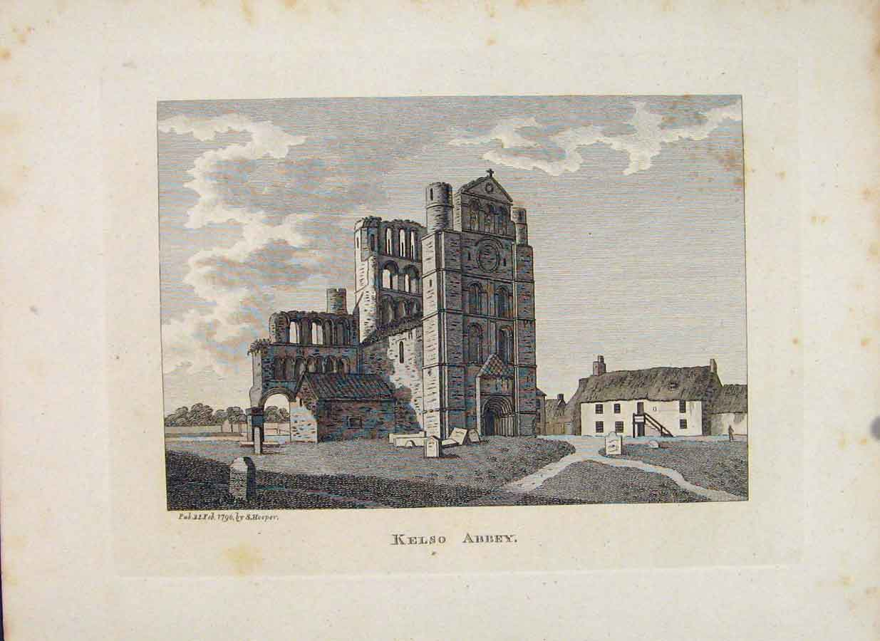 Print Roxburghshire Kelso Abbey Scotland C1797 566651 Old Original