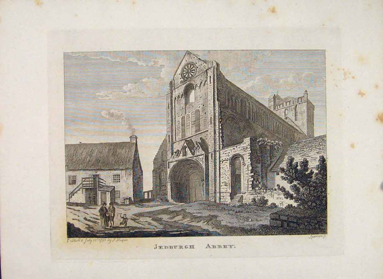 Print Roxburghshire Jedburgh Abbey Scotland 596651 Old Original