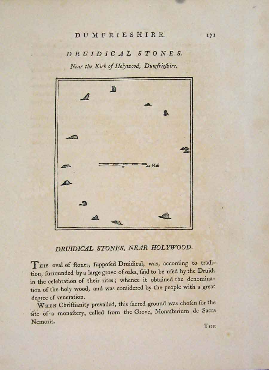 Print Dumfries Druidical Stones Holywood 1797 846651 Old Original
