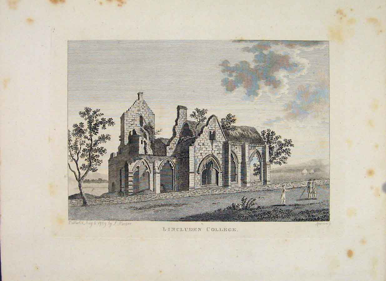 Print Lincluden College Galloway Scotland 026651 Old Original