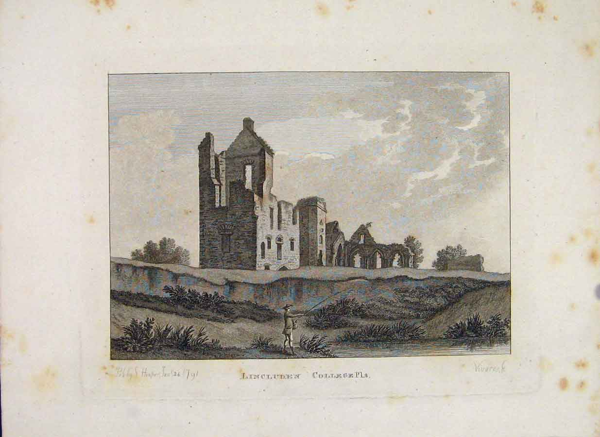 Print Galloway Lincluden College Plate 2 Scotland 036651 Old Original