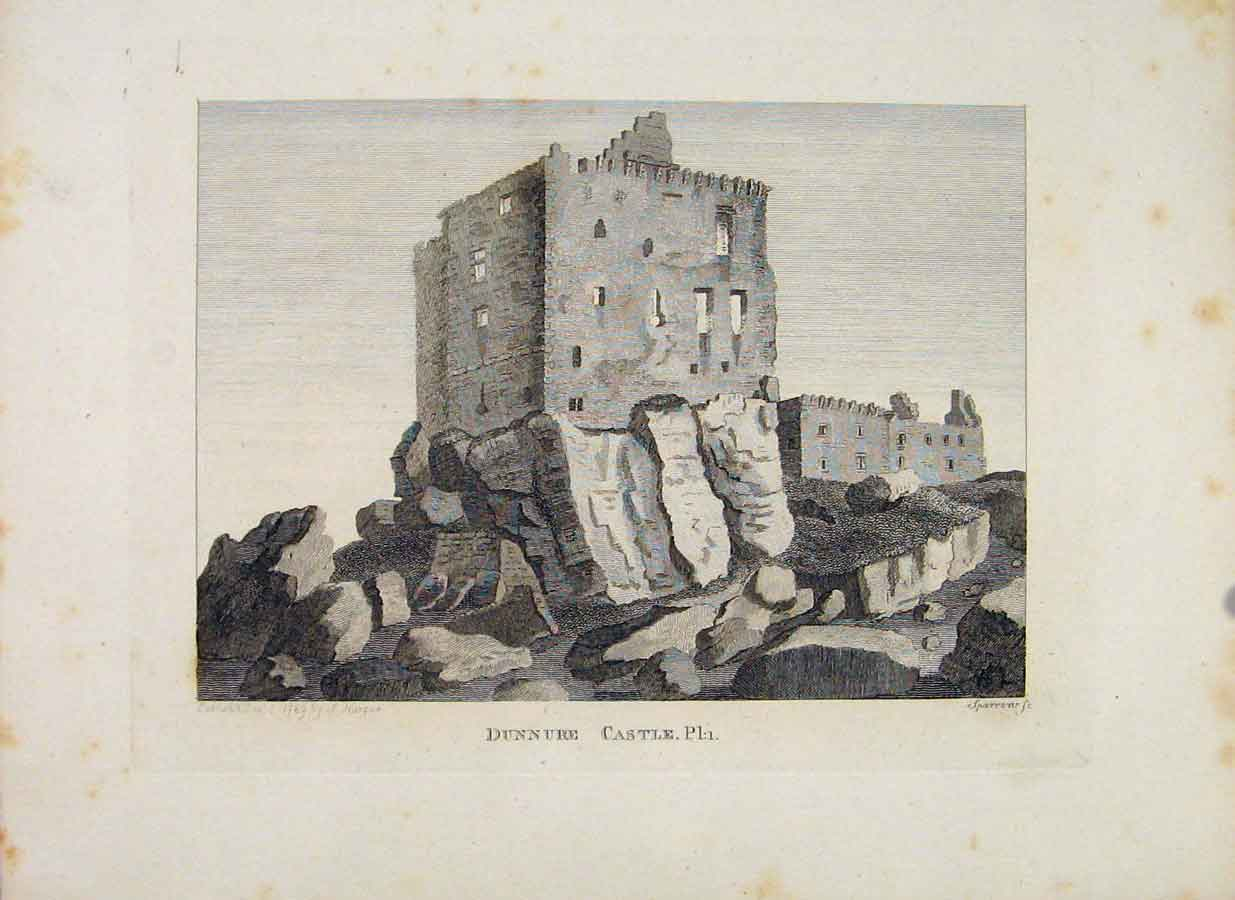 Print Ayrshire Dunnure Castle Plate 1 Fine Art 1797 276651 Old Original