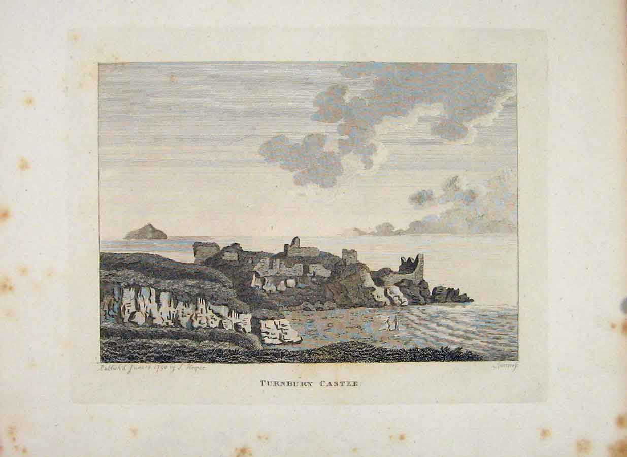 Print Turnbury Castle Ayrshire Fine Art C1797 366651 Old Original