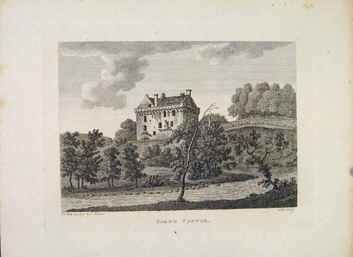 Print Ayrshire Sorne Castle Fine Art C1797 396651 Old Original