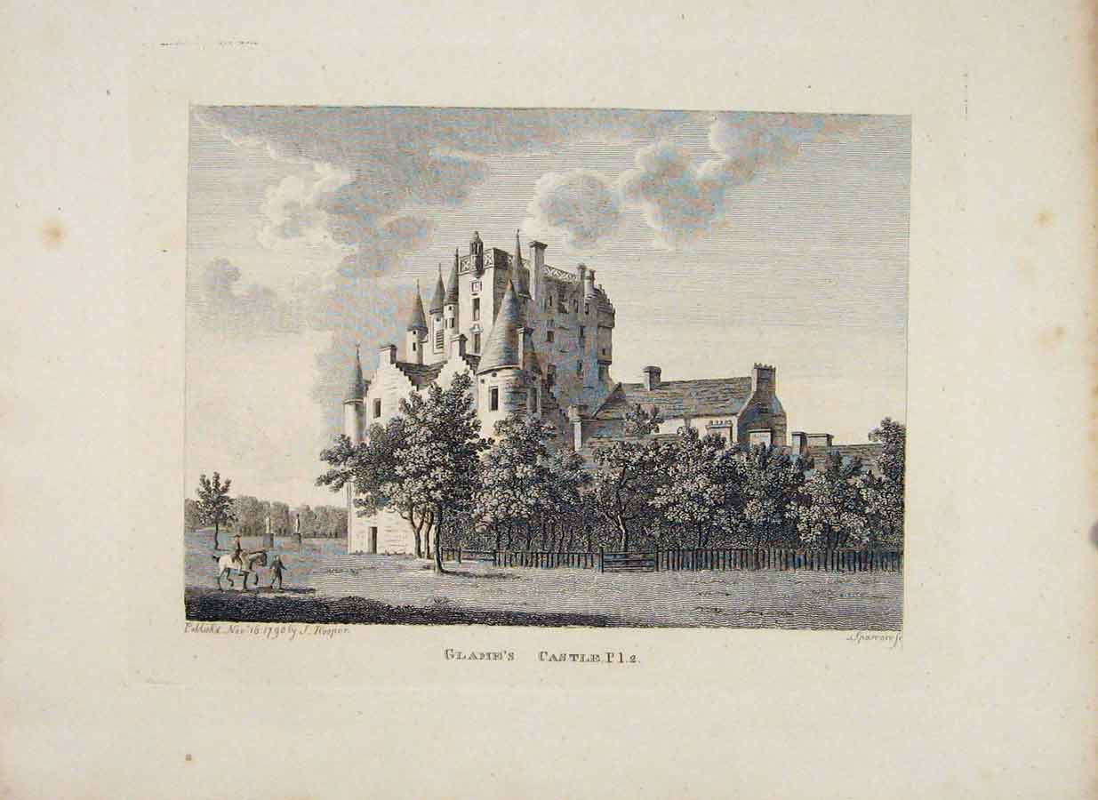 Print Anguoshire Glamms Castle Plate 2 C1797 726651 Old Original