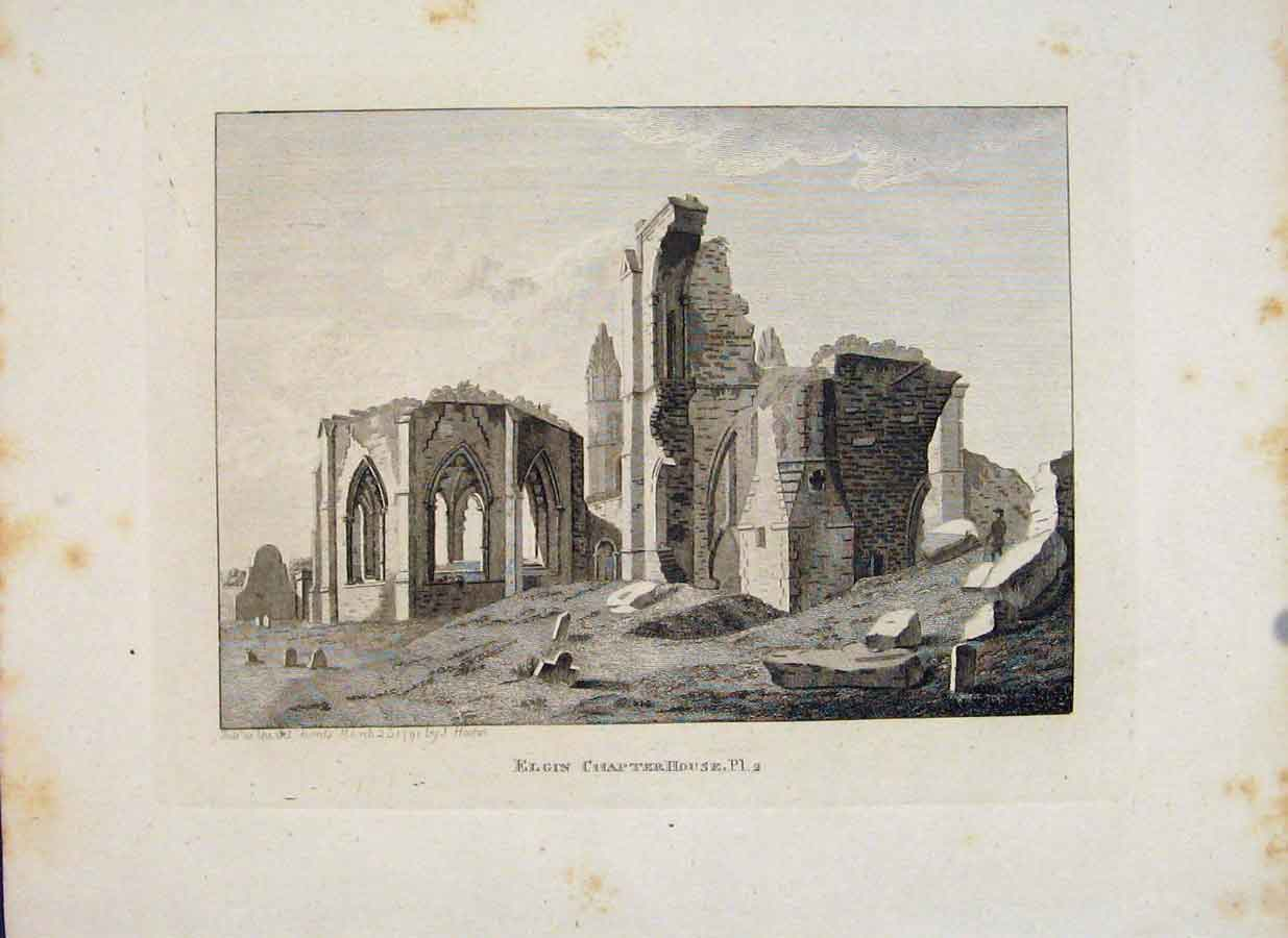 Print Morayshire Elgin Chapter House Plate 2 Art 836651 Old Original