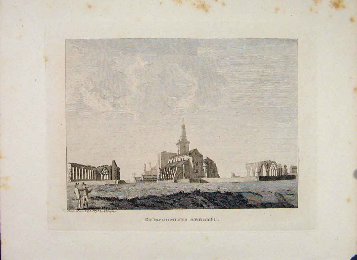 Print Fifeshire Dumfermling Abbey Plate 1 906651 Old Original