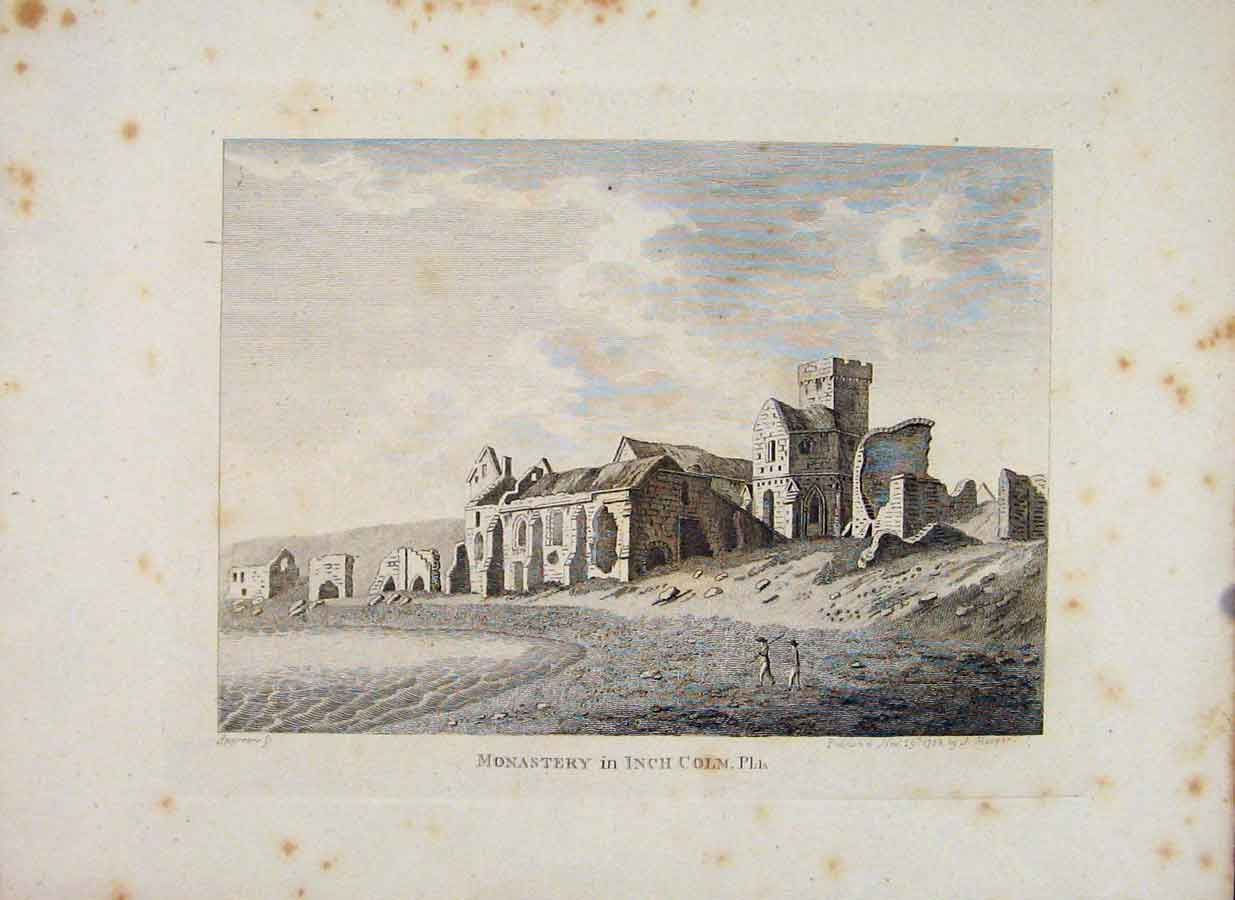 Print Isle Aemonia Monastery Inch Colm Plate 1 016651 Old Original
