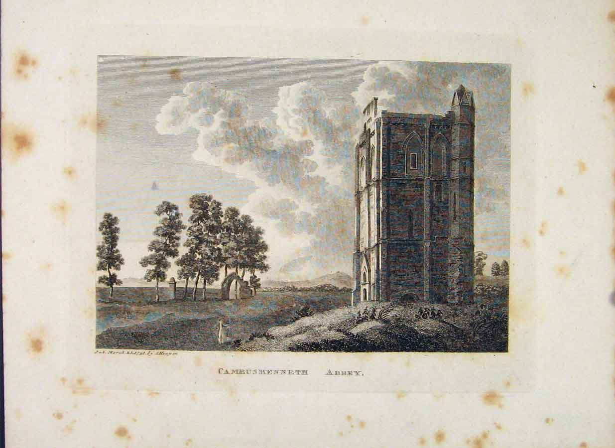 Print Sterlingshire Cambuskenneth Abbey C1797 056651 Old Original