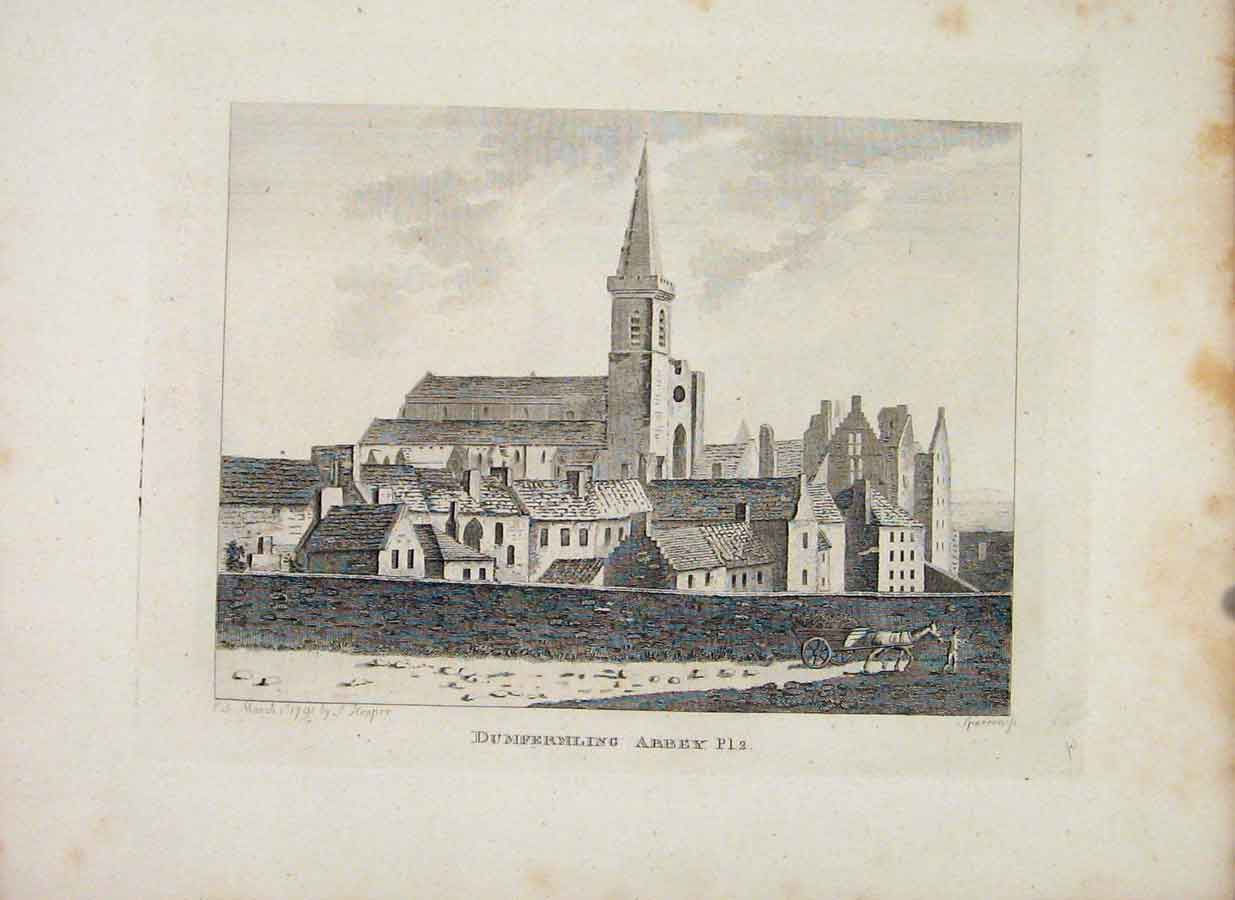 Print Dumfrermling Abbey Plate 2 Fine Art 076651 Old Original