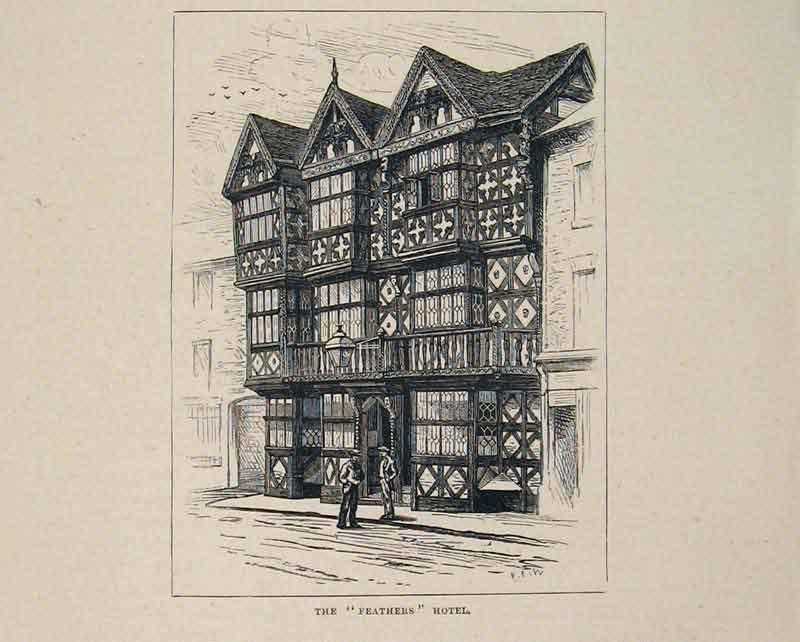Print Feathers Hotel View England Fine Art 406661 Old Original