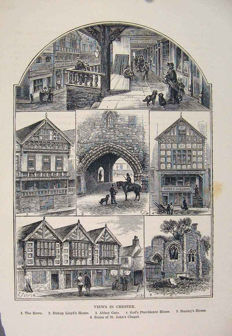 Print Chester Rows Bishops House Ruins St Johns Chapel 026661 Old Original