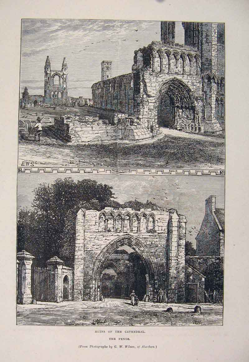 Print Ruins Cathedral Pends Fine Art C1878 046661 Old Original