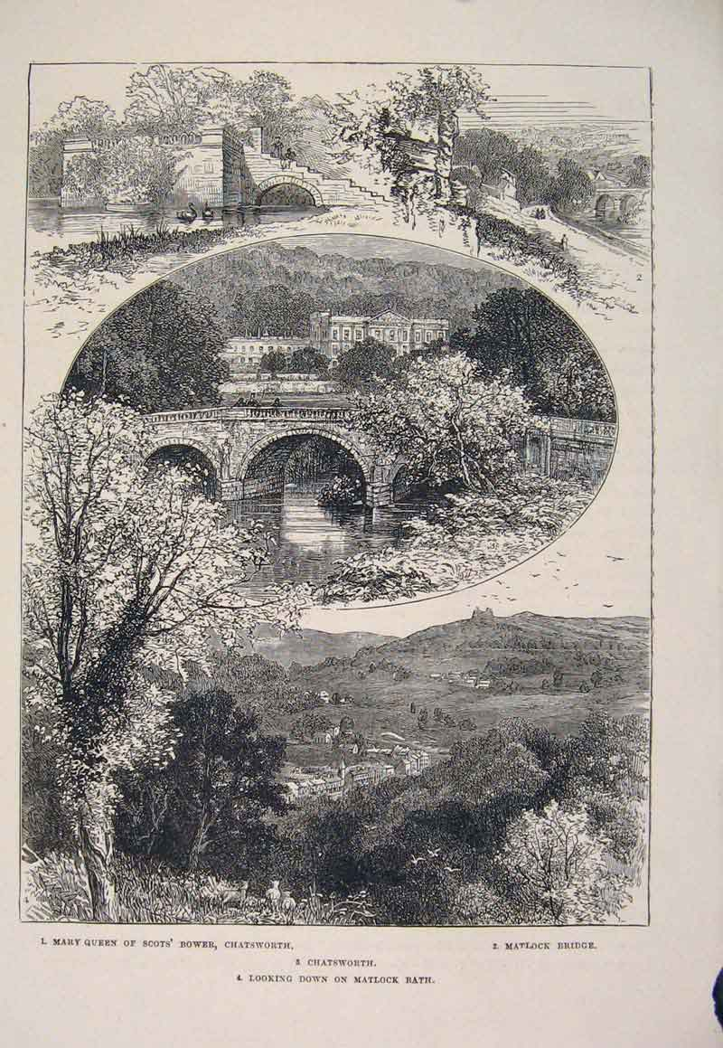 Print Mary Queen Scots Bower Chatsworth Matlock Bridge 066661 Old Original