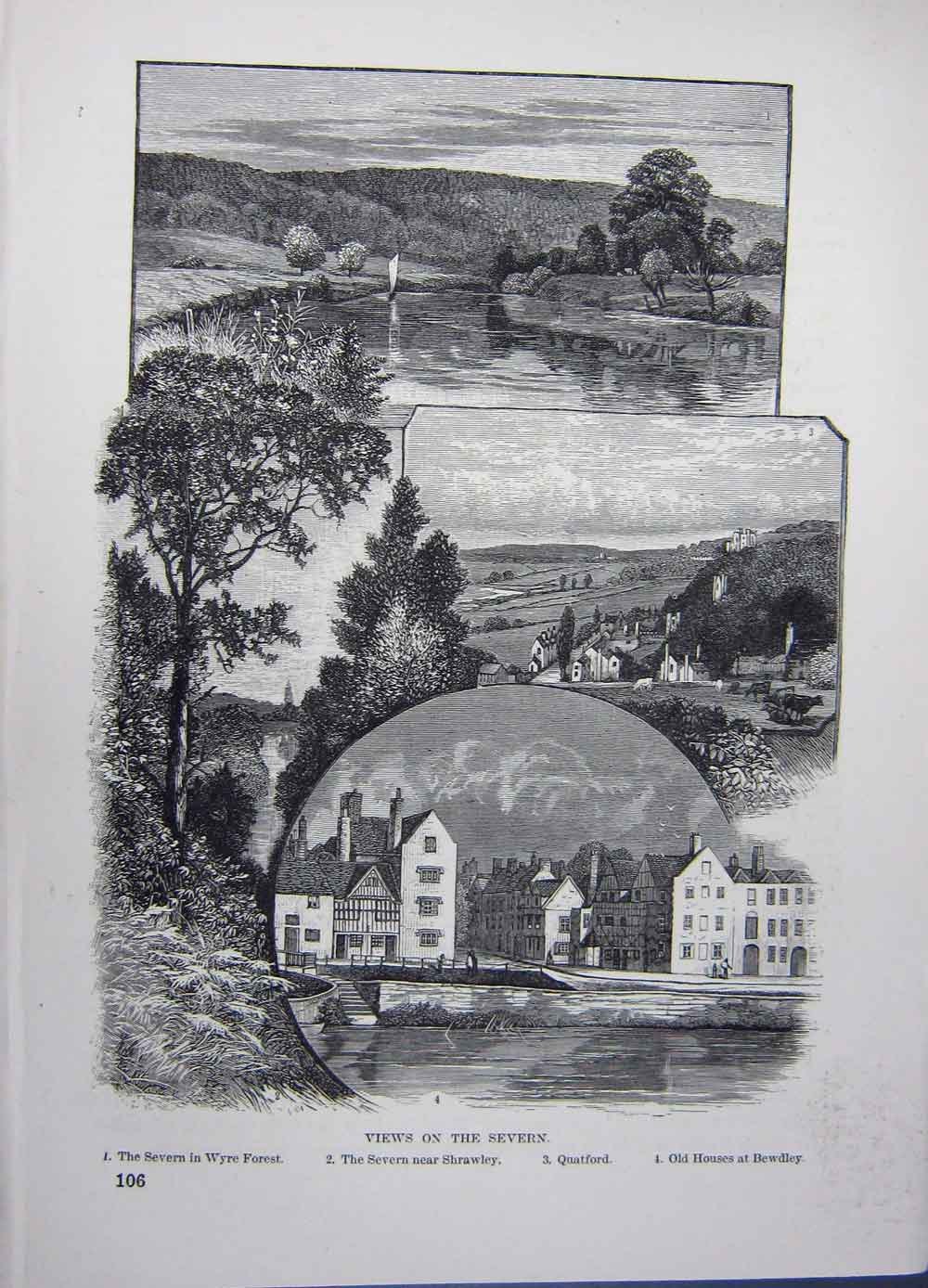 Print Views Severn River Wyre Forset Shrawley Quatford 126661 Old Original