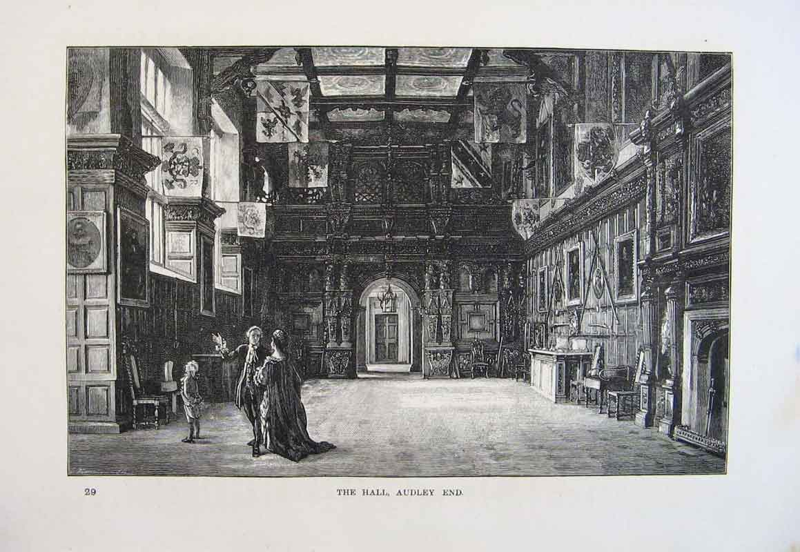 Print Hall Audley End England Fine Art 1878 186661 Old Original
