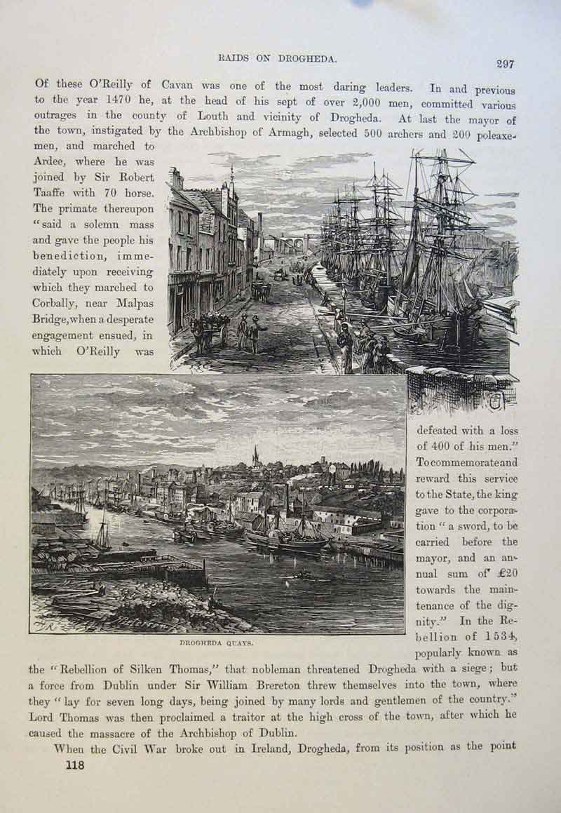 Print Drgheda Quays Fine Art C1878 Docks 616661 Old Original