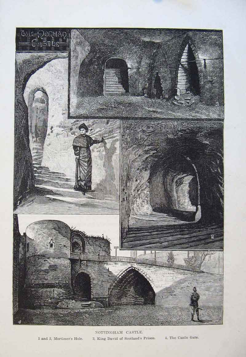 Print Nottingham Gate Mortimers Hole Kind David Prison Castle 026661 Old Original