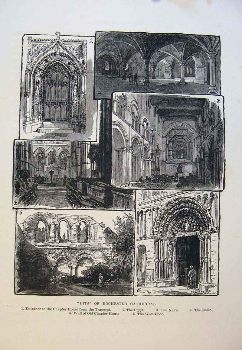 Print Bits Rochester Cathedral Chapter House Crypt Nave 076661 Old Original