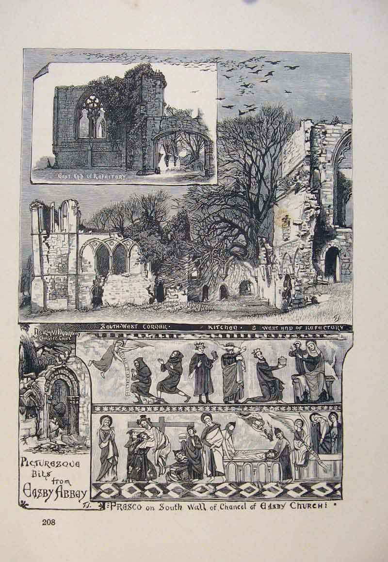 Print Sotuh Wall Chanpel Abby Church C1878 036661 Old Original
