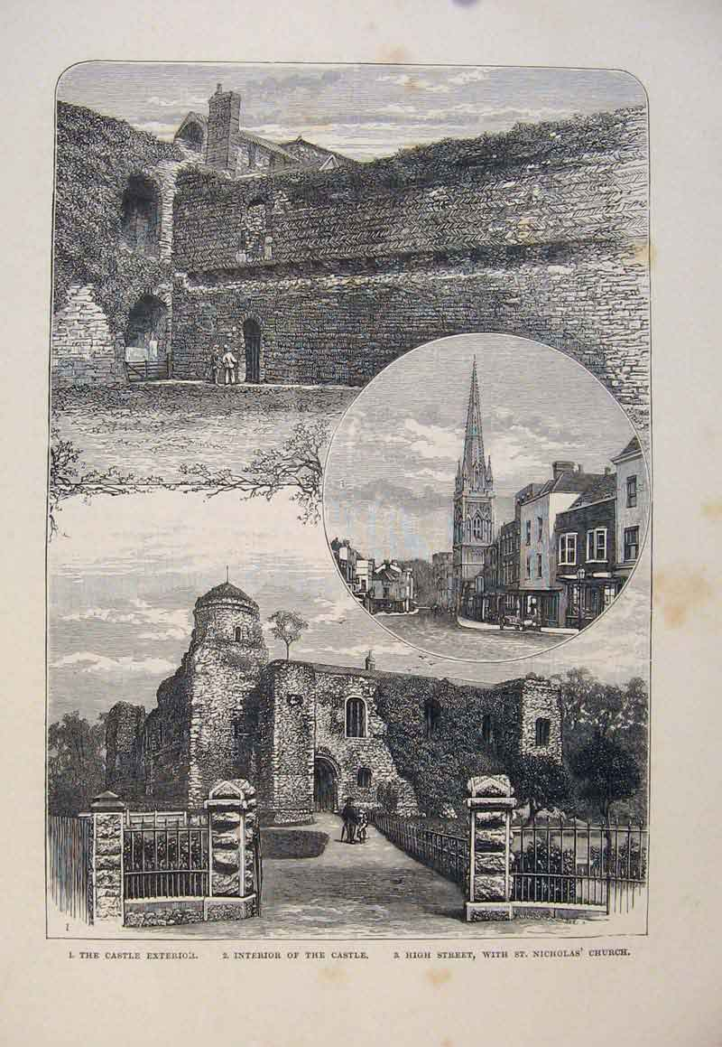 Print Castle Exterior Castle High Street St Nicholas Church 056661 Old Original