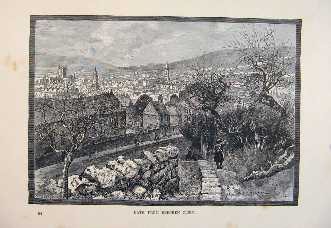 Print C1878 Fine Art Bath Beechen Cliff Art 066661 Old Original