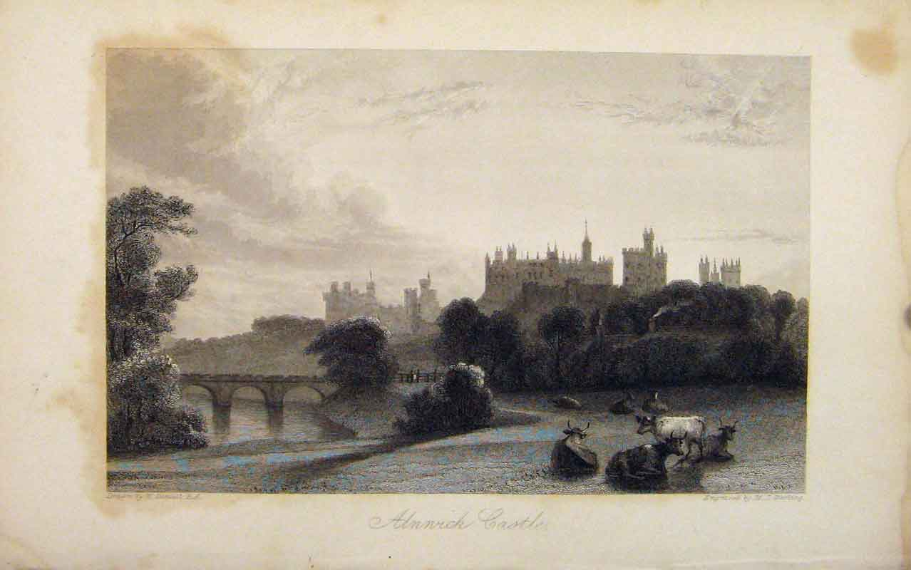 Print Alnwick Castle Northumberland Duke Included Editorial 086671 Old Original