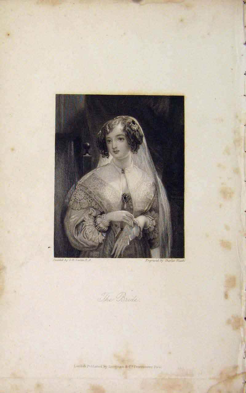 Print Bride C Leslie Portrait Fine Art C183 436671 Old Original