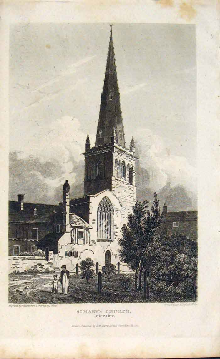 Print England Leicestershire St Mary Church 156701 Old Original