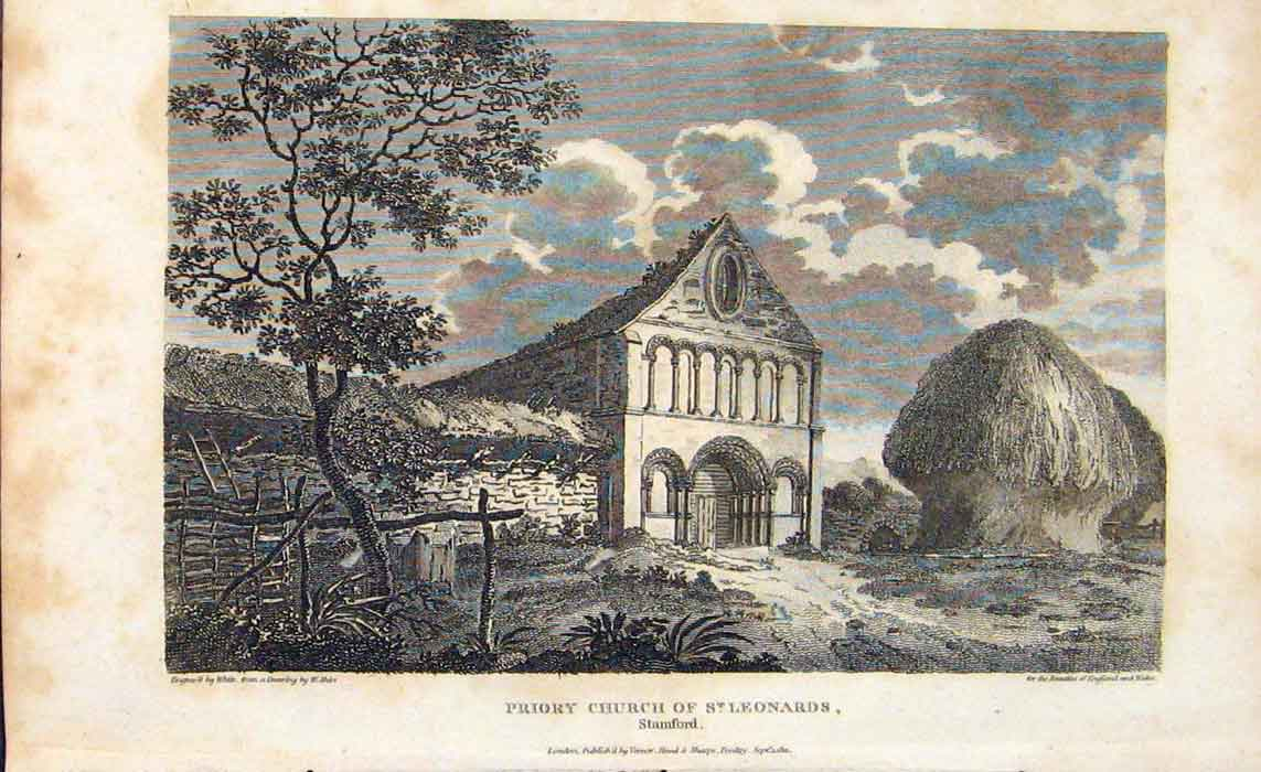Print C1807 Priory Church St Leonards Stamford 256701 Old Original