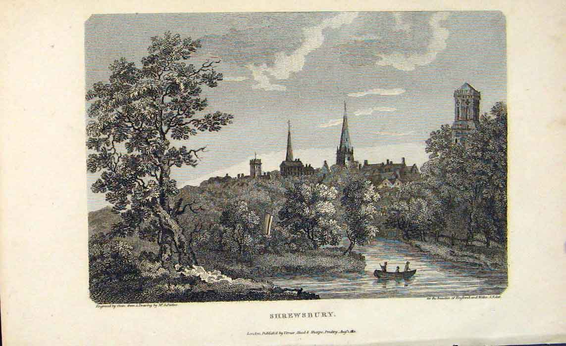 Print Shrewsbury River Severn England C1807 026701 Old Original