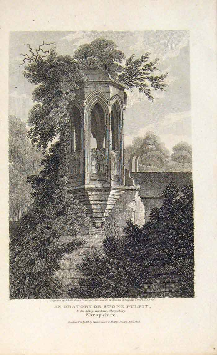 Print Oratory Stone Pulpit Shropshire Abbey Gardens 076701 Old Original