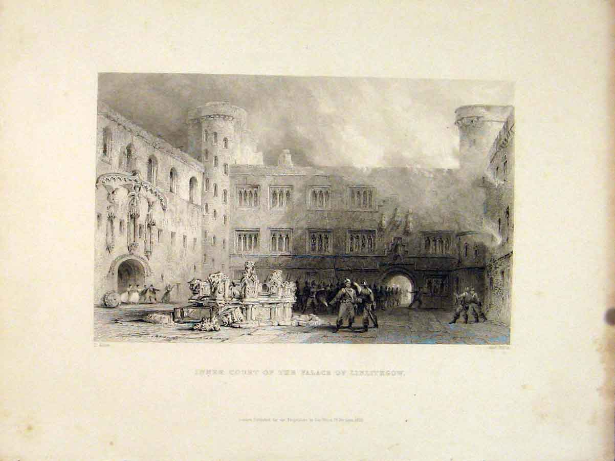 Print Scotland Inner Court Palace Linlithrow 066711 Old Original
