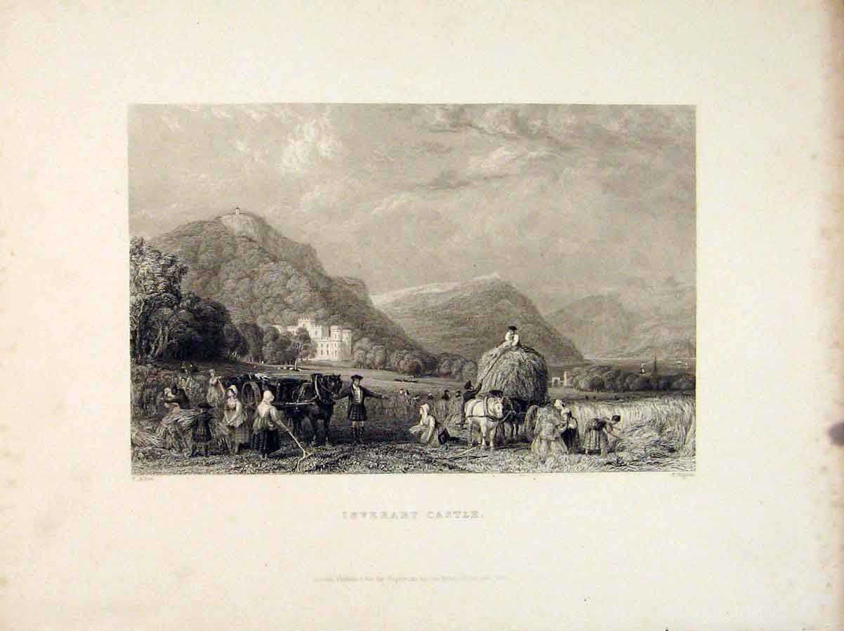 Print Scotland Inverary Castle Farming Hay Bail 116711 Old Original