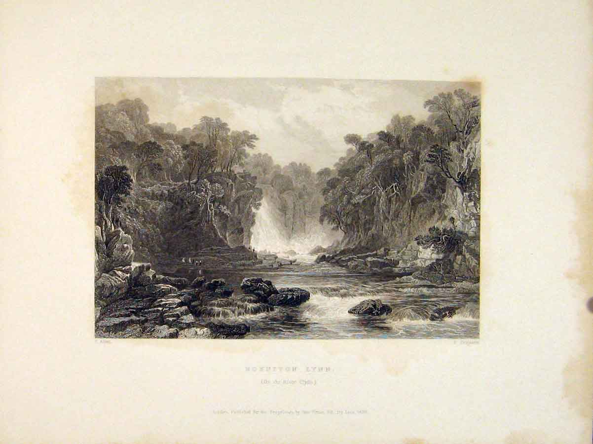 Print Bonniton Lynn River Clyde Scotland 476711 Old Original