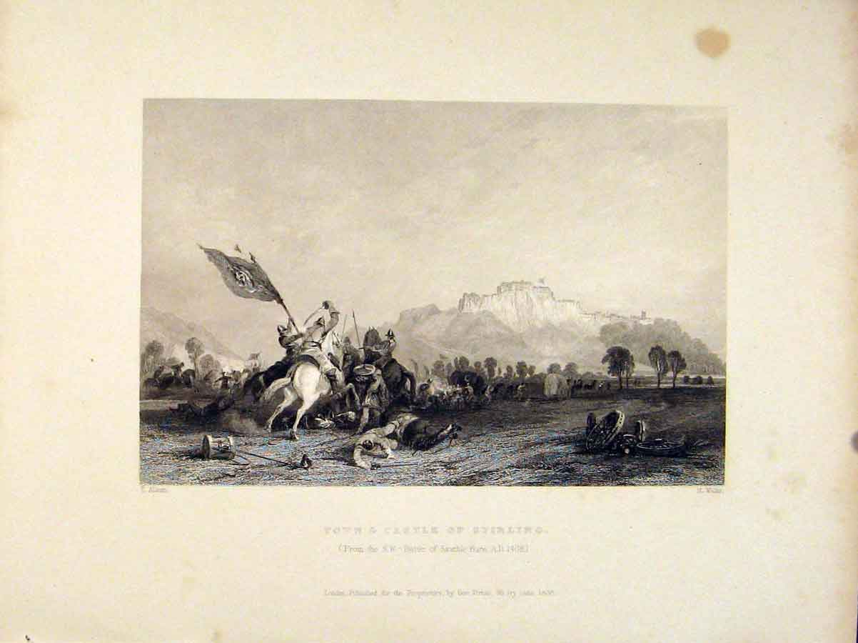 Print Town Castle Stirling Battle Sauchie Burn Scotland 506711 Old Original