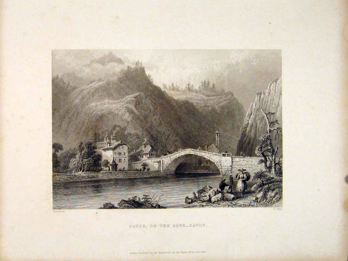 Print Cluse Arve Savoy Switzerland City Brigde Mountain 036721 Old Original