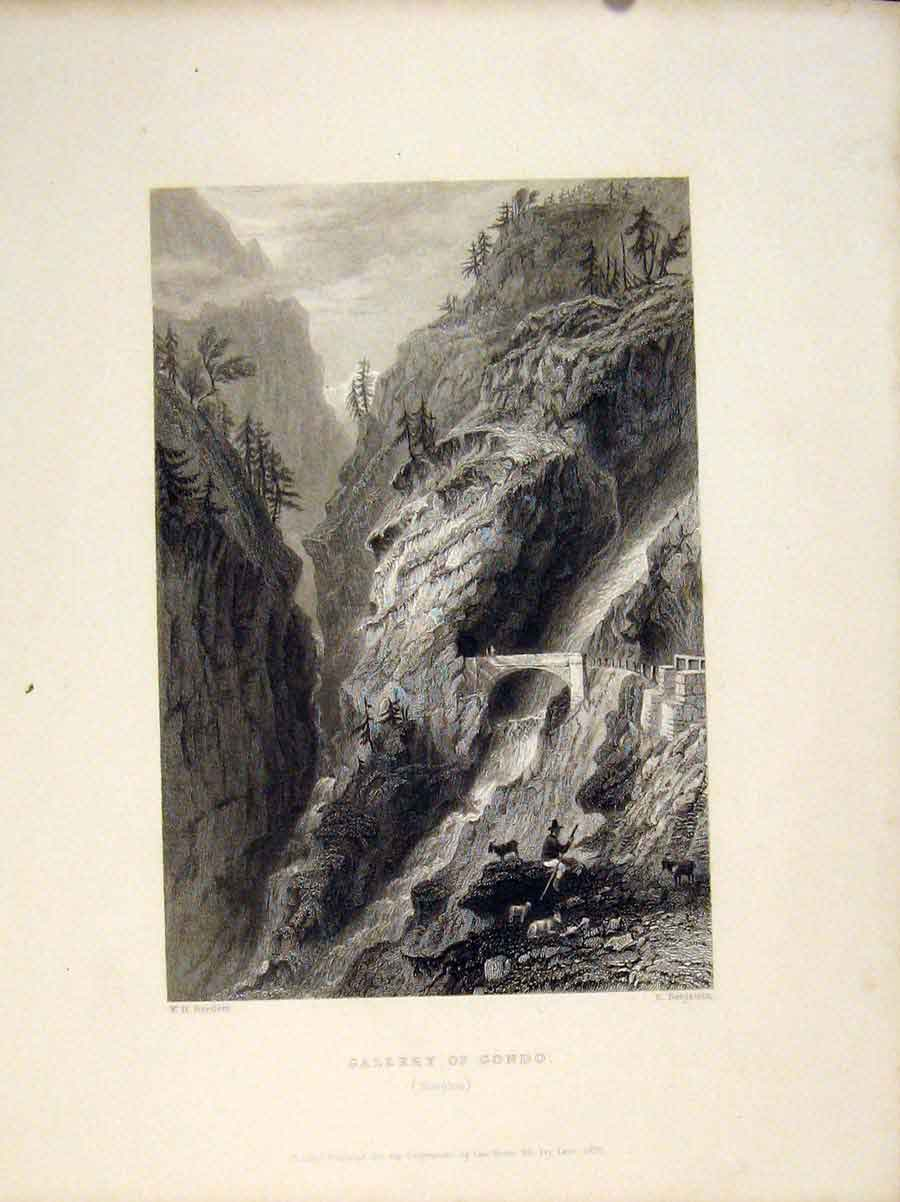 Print Switzerland Gallery Gondo Simplon C1835 236721 Old Original