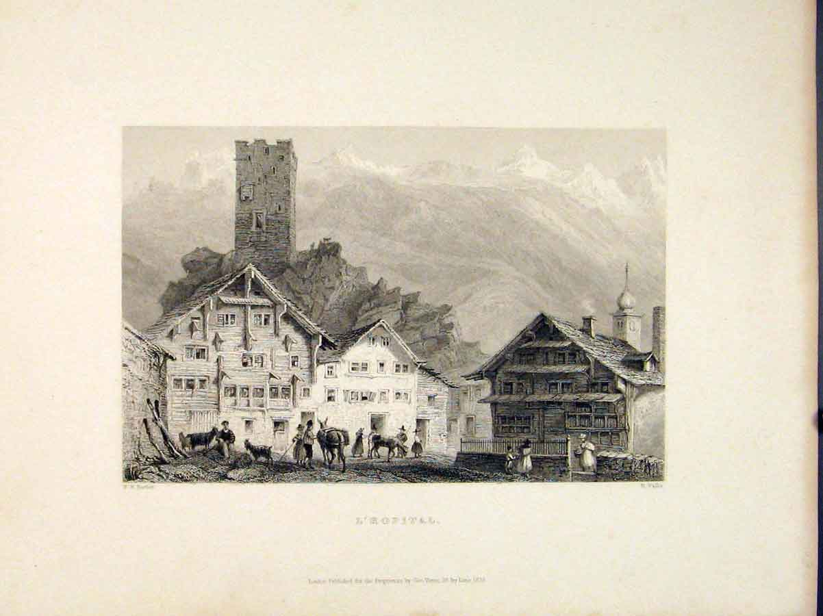 [Print L Hopital Hospital Swiss Village Switzerland 376721 Old Original]