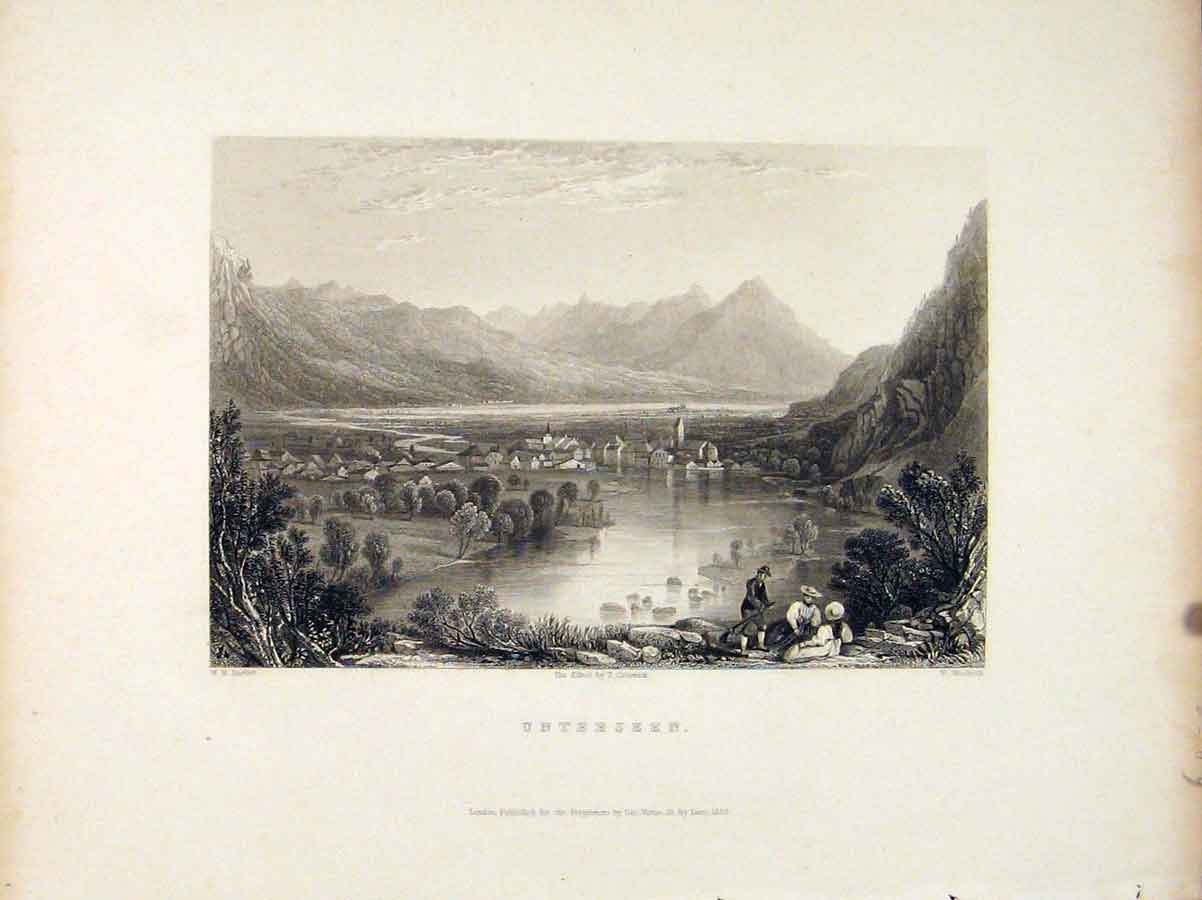 Print Unterseen Switzerland Mountain River 596721 Old Original