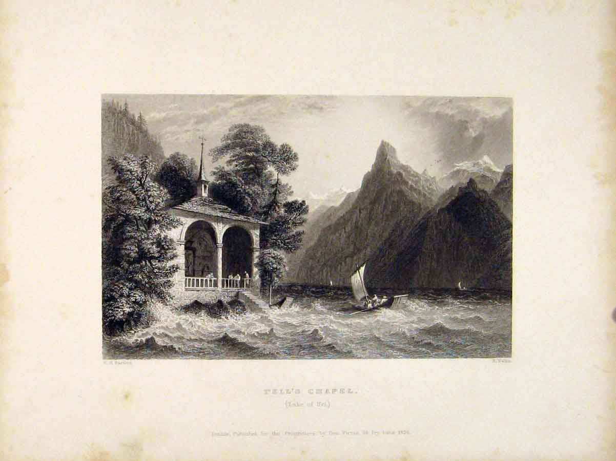 Print Tells Chapel Lake Uri Switzerland Art 766721 Old Original