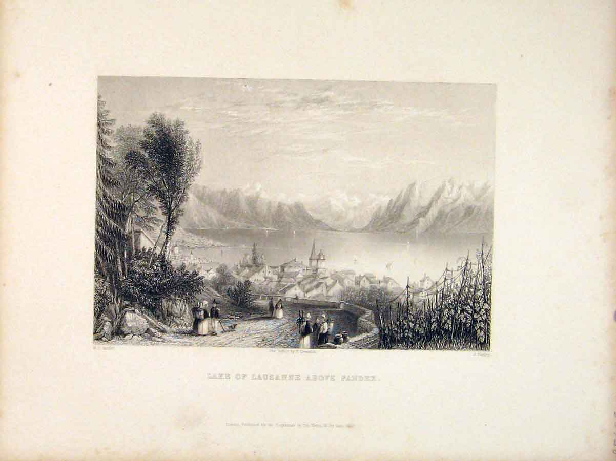 Print Switzerland Lake Lausanne Above Pandex 816721 Old Original