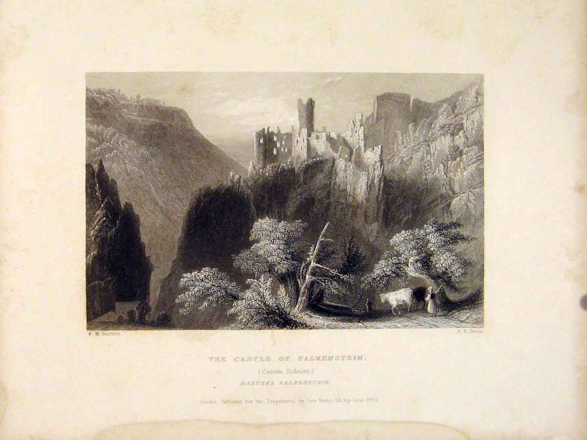 Print Castle Flalkenstein Canton Soleure Swiss 896721 Old Original