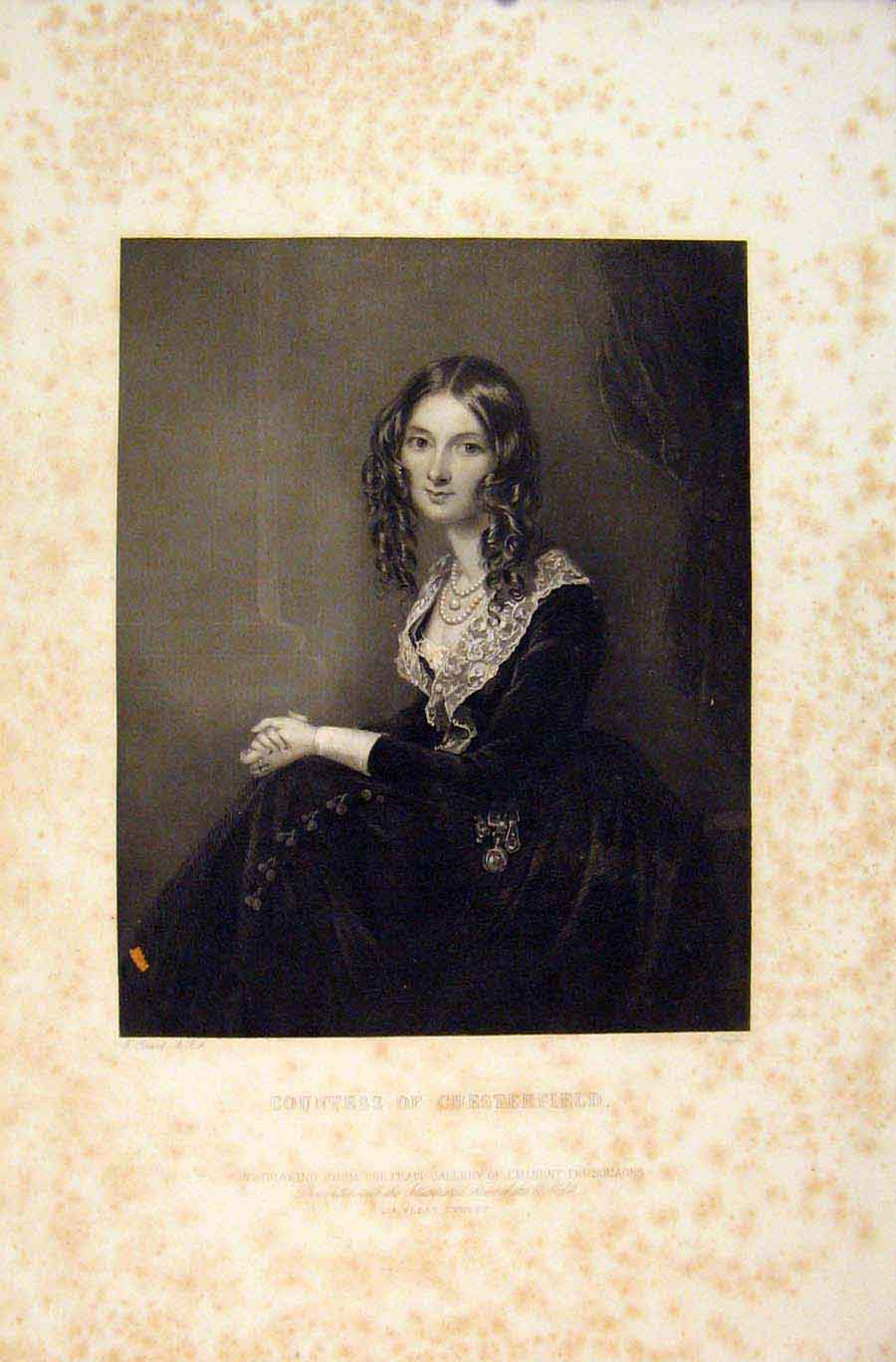 Print Countess Chesterfield Emiment People Portrait 106731 Old Original