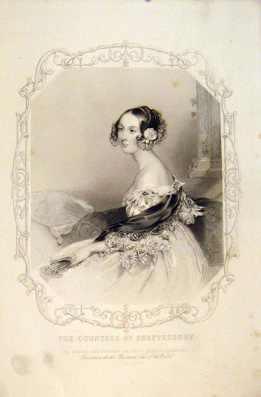 Print The Countess Shaftesbury Emiment People Portrait 336731 Old Original