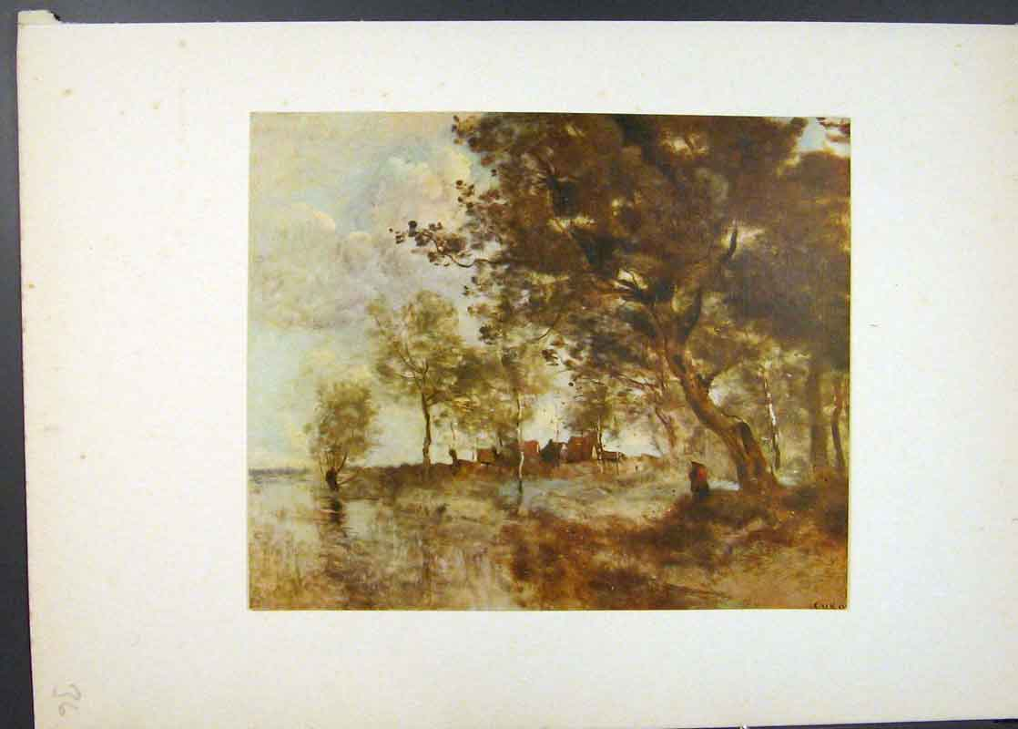 [Print A Flood Famous Painting By Jean Baptiste Corot C1913 366741 Old Original]