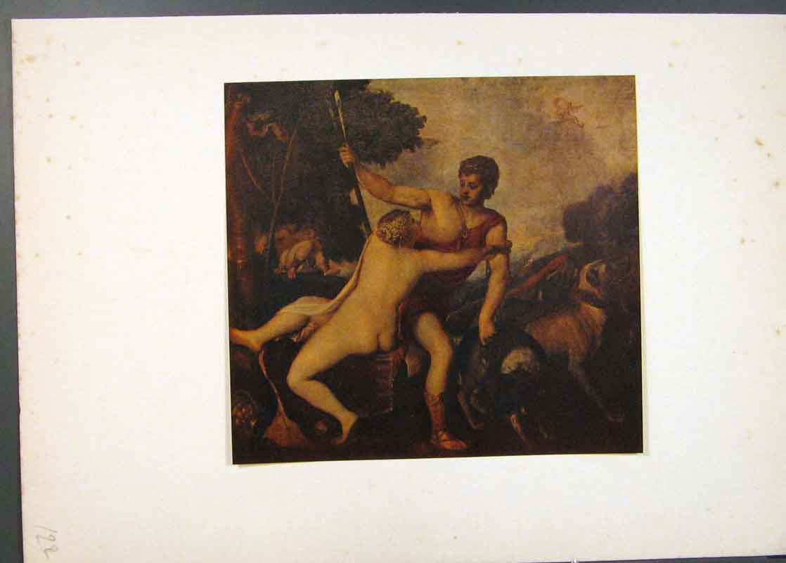 Print Venus And Adonis Famous Painting By Titian 226741 Old Original