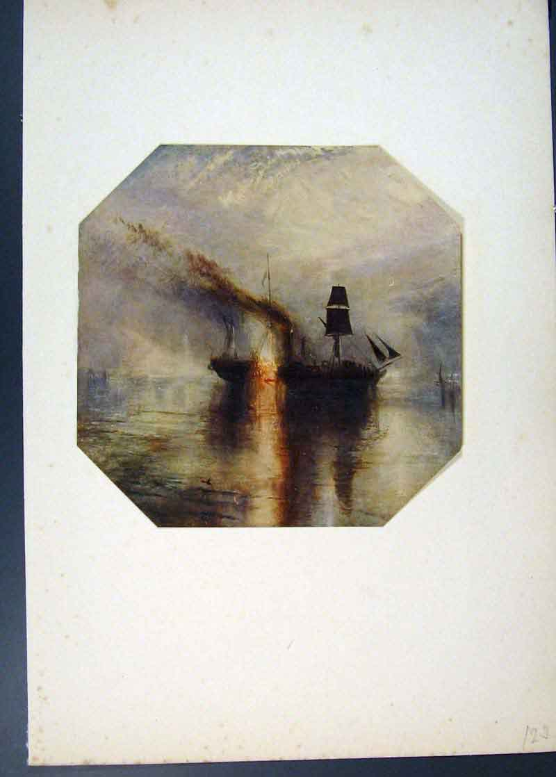 Print Peace Burial At Sea Dir David Wilkie Painted By Turner 236741 Old Original