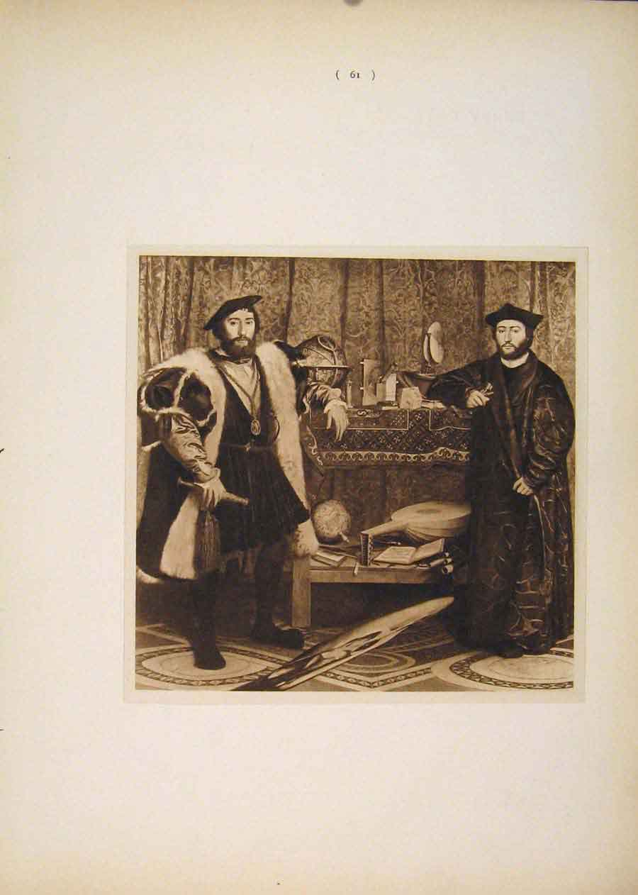 Print Ambassadors Hans Holbein Sepia Style Fine Art 616751 Old Original