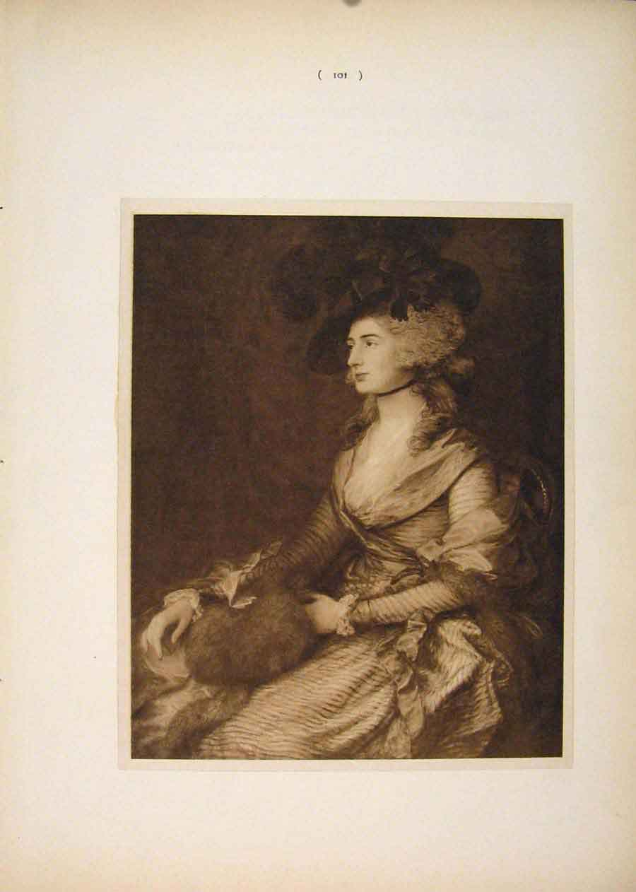 Print Portrait Mrs Siddons Thomas Gainsborough Sepia 016751 Old Original